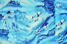 Hawaiian Shirt Men Size Medium  Native Net Casting Spear Fisherman USA Vintage