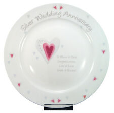 SILVER 25TH WEDDING ANNIVERSARY PERSONALISED PLATE Unique & Unusual Gift Idea