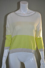 AUTUMN CASHMERE Mesh Stripe Chartreuse & White Ombre Cropped Sweater sz S NWT