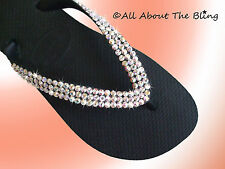 Havaianas flip flops or Cariris wedge with Swarovski Crystals AB Iridescent