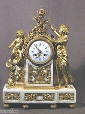 1820-1840 gilt BRONZE & WHITE MARBLE CLOCK GILT LADY GILT CHERUBS Really SUPER