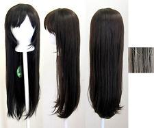 32'' Long Straight Long Bangs Chocolate Brown Dark Cosplay Wig NEW