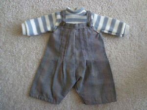 Teddy Bear Clothes Sweater & Overalls Off White & Gray