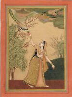Hand Painted Rajput Miniature Painting Ragini Feeding Peacock Rajasthani Artwork