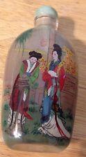 Vintage Oriental Asian Geisha Lady Reverse Painted Snuff Bottle B