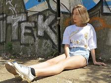 90er Chris JB Damen Shirt weiß mit Stickereien Schulterpolster True VINTAGE 90s