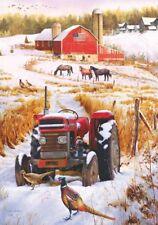 Winter Tractor Barn Farm Horses Pheasant Grouse Geese Snow Lg House Flag