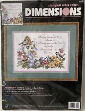 NIP Dimensions Stamped Cross Stitch Flowery Verse Cyndy Callog Complete Kit