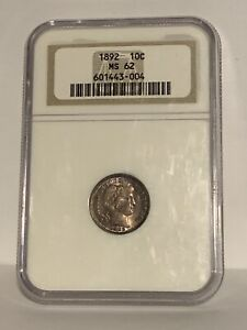1892 Barber Dime Graded & Certified NGC MS62 - 100% Original First Year Coin! 👀