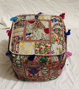 """Handmade Indian Cotton Poufs Cover Ottoman Patchwork Footstool 18X18X18"""" Inches"""