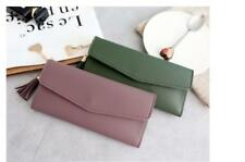 Tassel Leather Long Wallet Ladies Clutch With Coin Pouch - plum