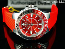 Invicta Men's 52mm AVIATOR VOYAGER Quartz Red Dial Silver & Red Tone SS Watch