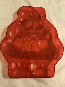 "Hard Plastic Red Designed 12"" Christmas Dish Santa Vintage Holiday Party Tray"