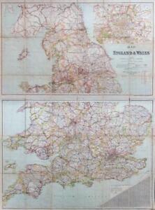 c1920 MAP OF ENGLAND & WALES Railways Roads Pair of Folding Maps Bacon  (FM2)