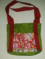 selbstgenähte Schultertasche mit Innen-und Außentaschen Blumenmuster Stickerei