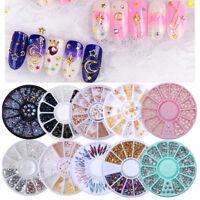 3D Nail Art Rhinestones Decoration Wheel  Glitters Beads Studs DIY Tips