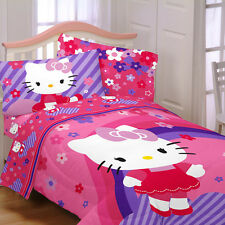 HELLO KITTY Flowers 4pc TWIN COMFORTER SHEETS Bedding SET Pink Purple Single cat