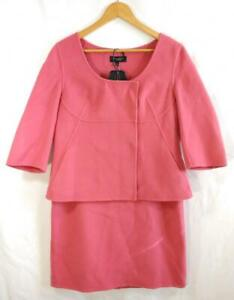 Women's TALBOTS Boiled Wool SUIT Size 12 Pink 3/4 Sleeve Jacket Pencil Skirt