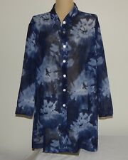 Lane Bryant Designs & Co Sheer Blue Top w/ Large Abstract Flowers ~ 26 (26W, 4X)