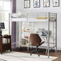 Twin Loft Bed Metal Bunk Ladder Beds Boys Girls Teens Kids Bedroom Dorm