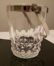 """Cristal D'Arques Tuilleries Villandry Ice Bucket Clear with Chrome Handle 5-3/8"""""""