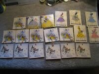 """vintage tally cards some handwritten mid-century lace fabric HUGE LOT 4 sets 3"""""""