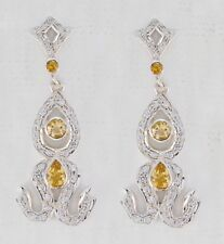 Yellow 925 Sterling Silver Natural elegant Citrine supplies Earring AU gift
