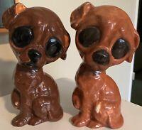 Pair Vintage 1960s Sad Big Eye Dog Puppy Ceramic Mid Century Kitsch Figurines