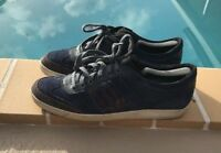 Salvatore Ferragamo BLUE SUEDE LEATHER & PATENT SNEAKERS Sz 10 EE MADE IN ITALY