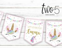 Personalised Unicorn Happy Birthday Bunting, Children's Party Decoration Banner