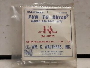 Walthers HO and O scale model railroad whistle and Bell set 2 each