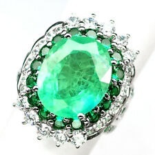 EMERALD GREEN OVAL 10 CT.GARNET SAPPHIRE 925 STERLING SILVER RING SIZE 6.75 GIFT