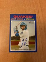 2020 Topps Heritage Minor League - Jacob Amaya - Blue On Card Auto #'d 05/99