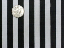 BLACK WHITE NARROW STRIPE REF JAIL PRISON RAILROAD SEW CRAFT FABRIC HALF YARDS