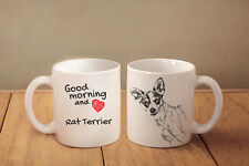 "Rat Terrier - ceramic cup, mug ""Good morning and love"", Usa"