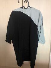 COSTUME NATIONAL Black Blue Dress Top 3/4 Sleeves Keyhole Silk Acetate IT 42