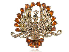 Smoked Topaz Diamante Rhinestone Tail Peacock Bird Fashion Jewelry Pins Brooch