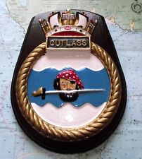 "10 ""Hms Cutlass Heavy Metal Barco Crest Escudo Placa"