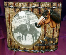 Picture Frame Horse Barbed Wire 8-1/2 x 8-1/2 fits 5 x 7 photo Western Bar Room