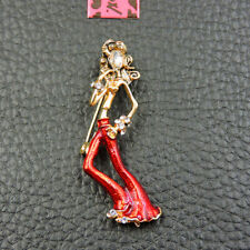 Enamel Charm Woman Brooch Pin Betsey Johnson Fashion Elegant Lady Crystal