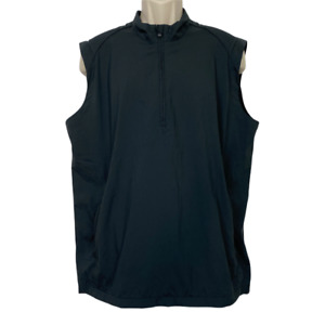 Adidas Golf Clima Proof Jacket Vest Mens Large Windbreaker Wind Black 1/4 Zip