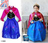 UK Frozen Princess Queen Anna Cosplay Costume Party Fancy Dress 3-8 Years CD003