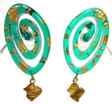 SoHo® Ohrstecker Diana große Spirale Blattgold grün retro resin gold