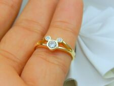 Engagement Ring 14k Yellow Gold Fin 0.75Ct Round Simulated Dia Micky-Mouse Style