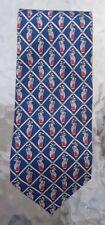 Fox & Chave silk necktie navy blue golf bag print