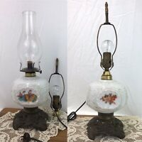 Antique Victorian Milk Glass Oil Kerosene Lamp OR Electric Windmills Vtg 4-Sided