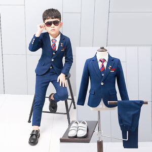 NEW Kids Boys Tuxedo Suits Wedding Party Suit Set Toddler Formal Dresses  2-12Y