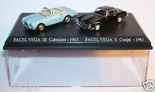 COFFRET ATLAS DUO 2 METAL UH FACEL VEGA III CABRIOLET 1963 COUPE II 1961 HO 1/87