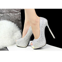 Peep Toe High Heels Glitter Silver Platform Pump Wedding Shoes SZ 5-12 Women