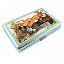 German Pin Up Girls D2 Silver Metal Cigarette Case RFID Protection Wallet